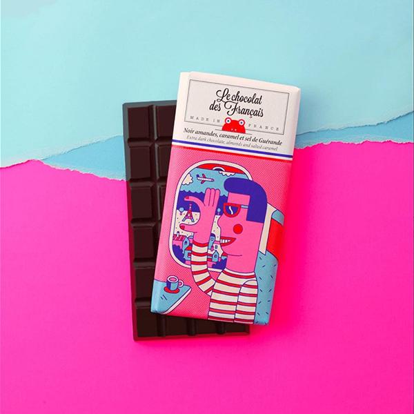 1 lipstick + chocolat noir, amandes, caramel